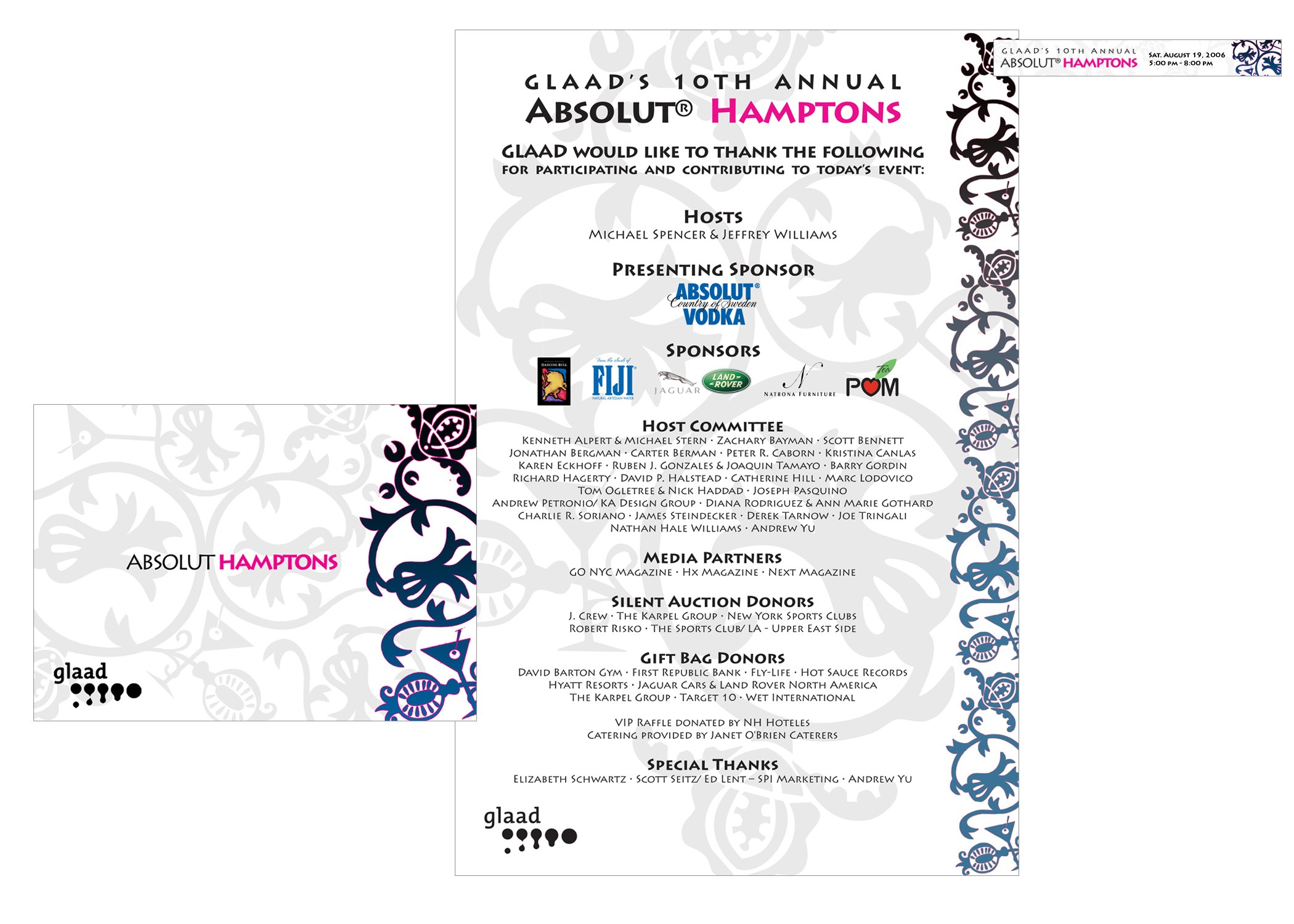 Invite, poster and web banner ad for GLAAD's 'Absolut Hamptons' summer fundraising party.