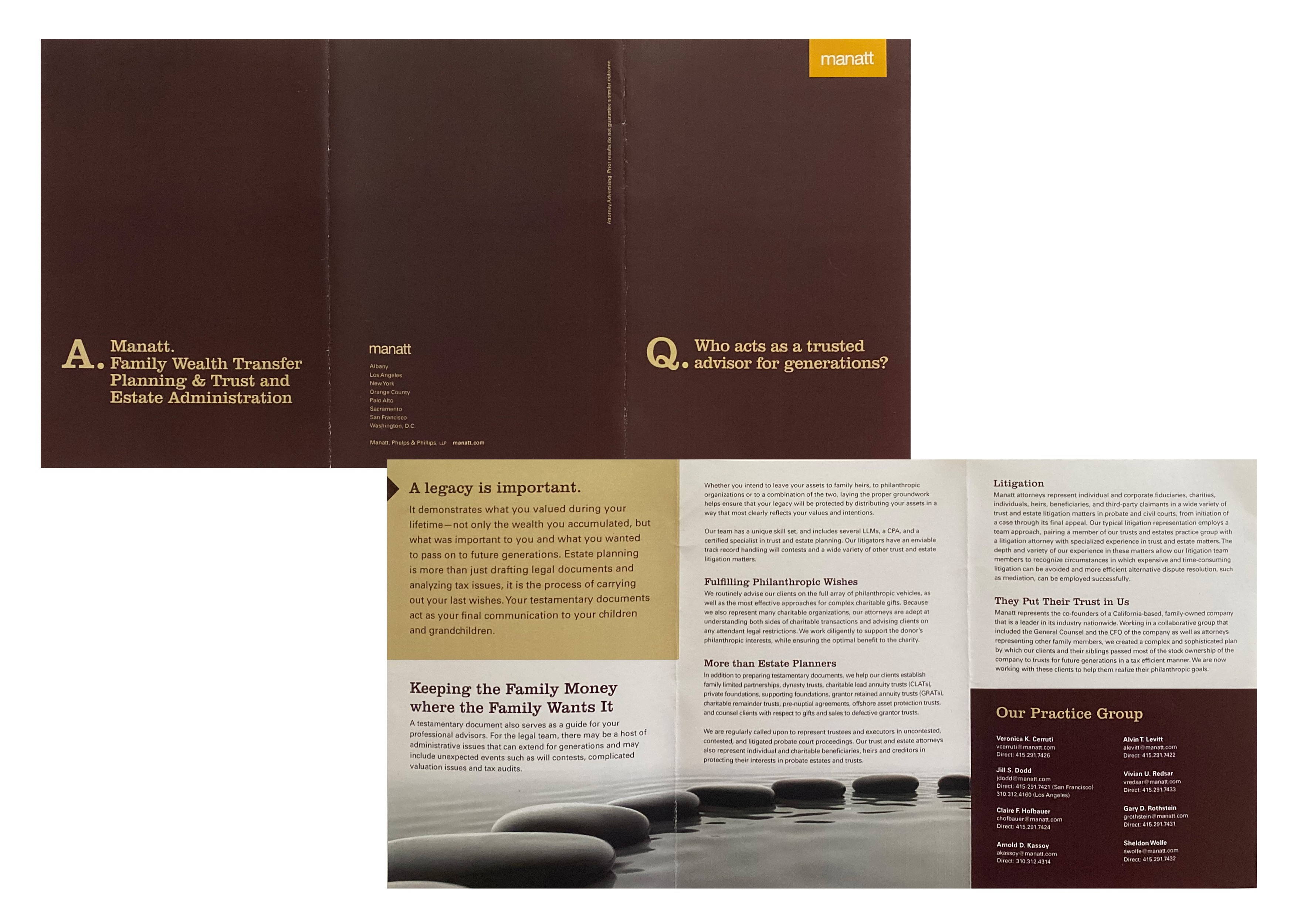 Brochure for estate planning services of Los Angeles based law firm.