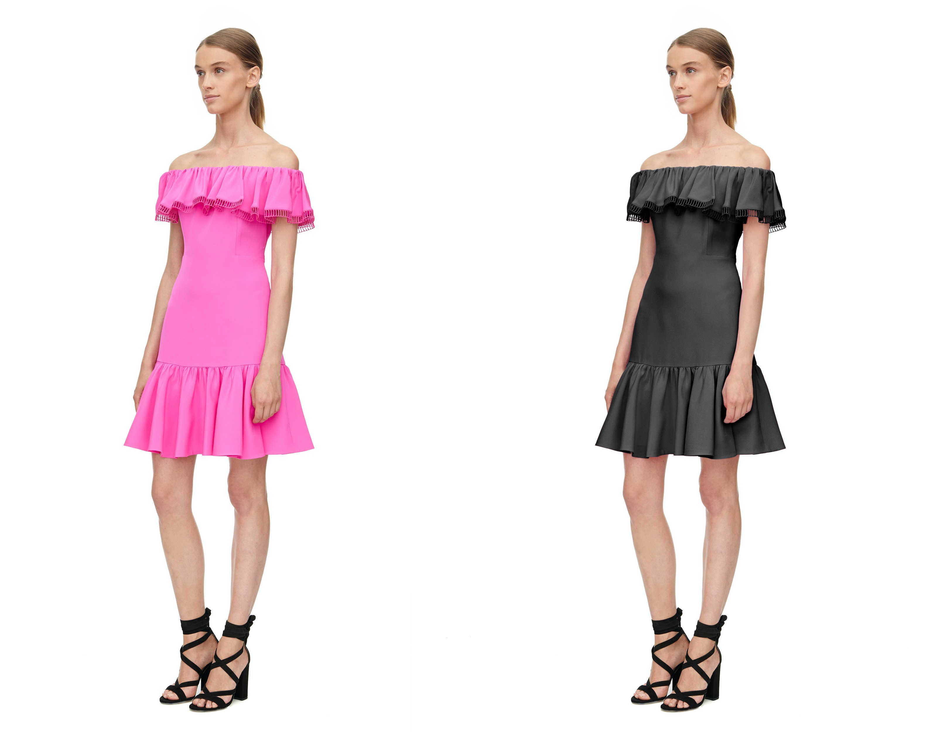 Sample fashion photo color adjustment (changed dress from pink to black).