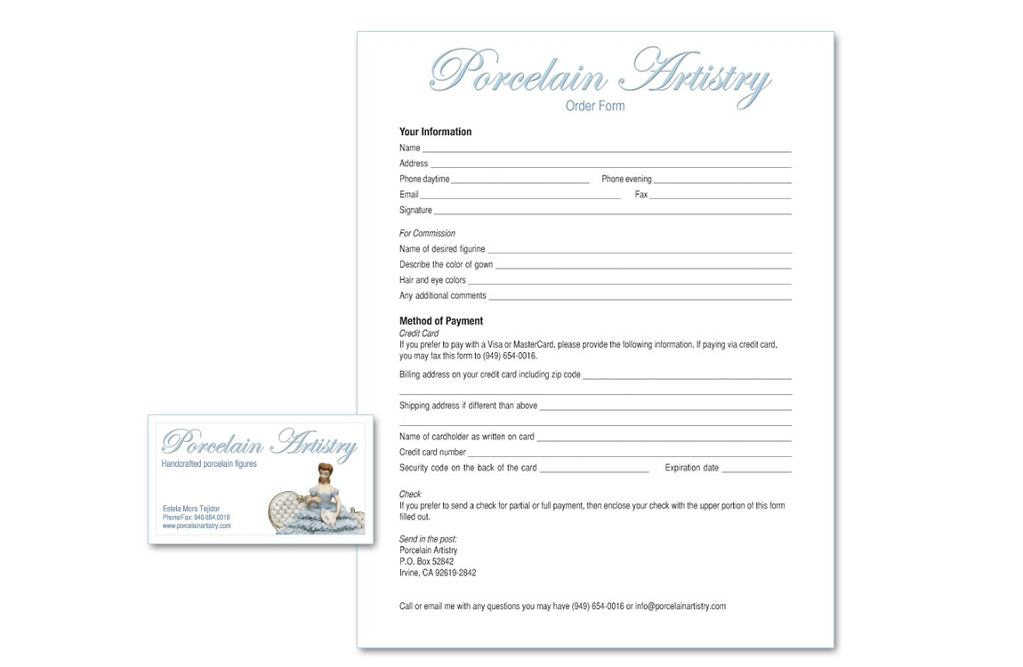 This business card and order form were designed to match the client's website.
