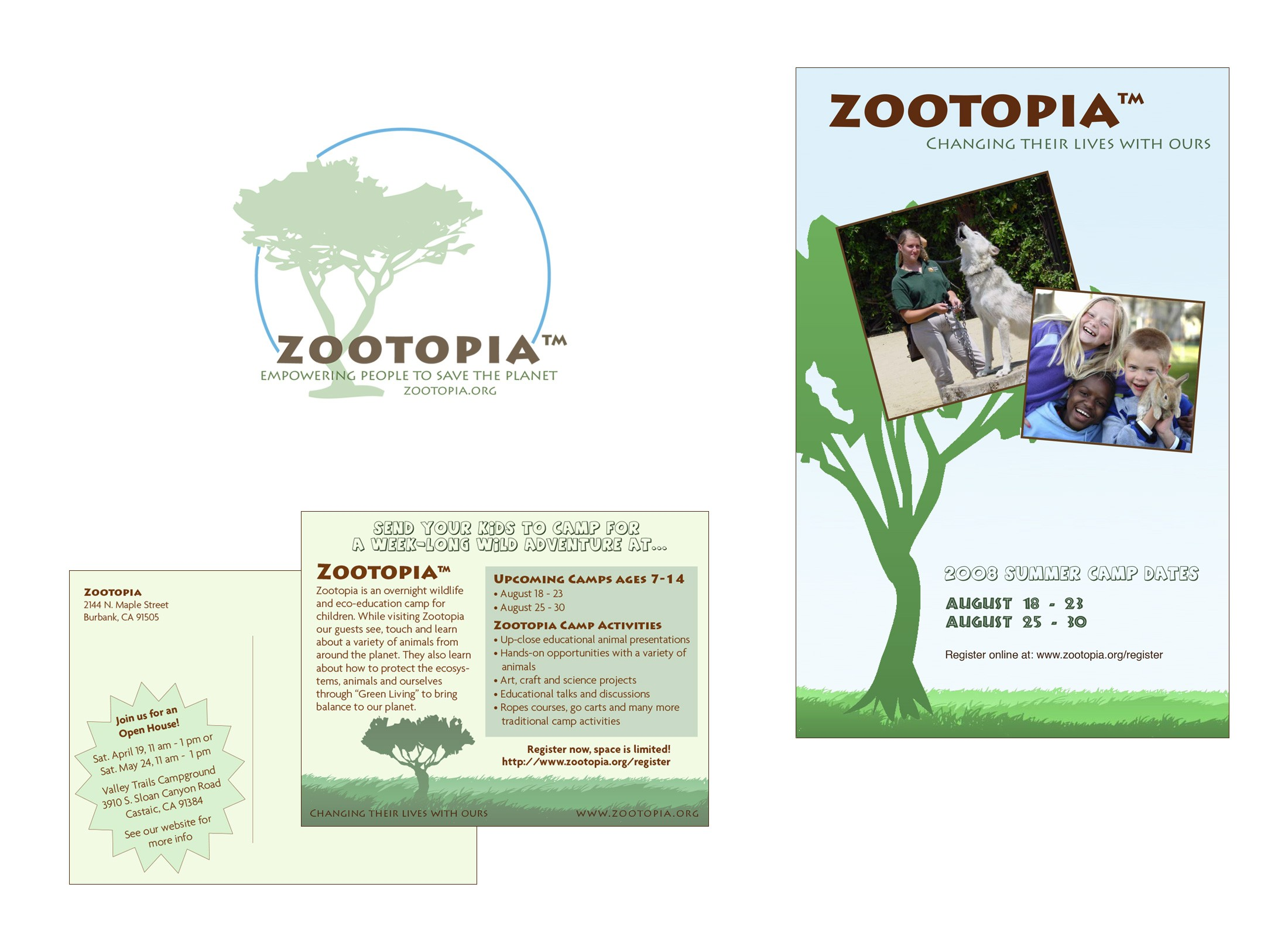 Logo and collateral pieces were designed to match the look and feel of the website.